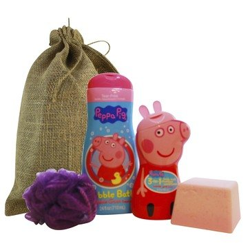 Peppa Pig Bubble Bath Gift Set Featuring Bubble Gum Scented Bubble Bath, 3 in 1 Body Wash SHampoo and Conditioner, Giant Mega Size Bath Bomb with Toy Inside, and Body Pouf Large Full Size Bottles