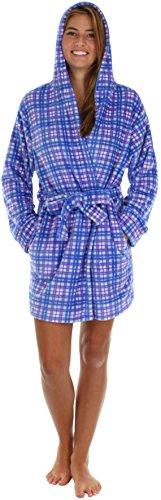 PajamaMania Junior's Hooded Fleece Short Robe Blue Plaid- XL