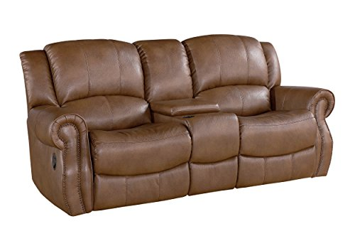 Abbyson Living Beckett Reclining Console Leather Loveseat, Mesa (Beckett Furniture)