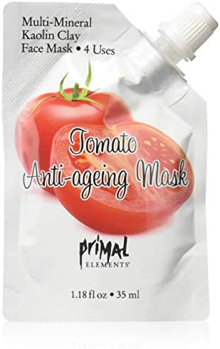 Primal Elements Face Mask, Clay Mud Facial Treatment, Reduce Pores & Treat Blackheads, Multi-Use Package, 1.18 oz - Tomato Anti-Aging