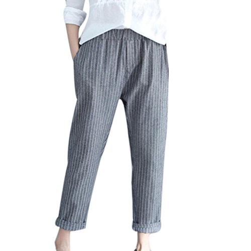 Spbamboo Woman Linen Striped Harem Pants Loose Striped Full Pants Casual Pants by Spbamboo