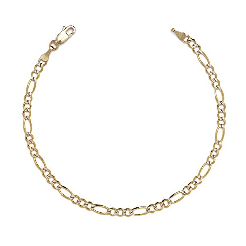 7 Inch 10k Two-Tone Gold Figaro Chian Bracelet and Anklet with White Pave, 0.1 Inch - Tone Anklet Two Gold