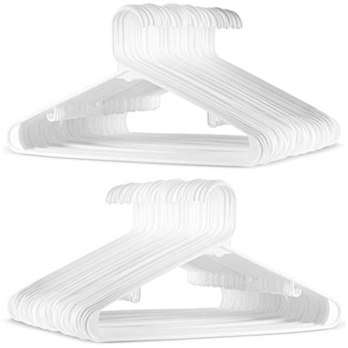 (Standard White Plastic Hangers (60 Pack) Durable Tubular Shirt Hanger Ideal for Laundry & Everyday Use, Slim & Space Saving, Heavy Duty Clothes Hanger for Coats, Pants, Dress, Etc. Hangs up to 5.5 lbs)