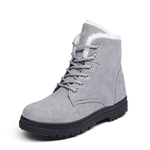 Grey Snow Boots Size Faux Fur Plush Inside Womens Slip on Dress Ankle Boots 7.5