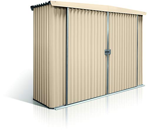 Stratco Storage Shed Locker - 9.5 ft x 2.8 ft x 6.2 ft Utility Garden Shed Pre-Painted Steel Construction with Sliding Door (Beige)
