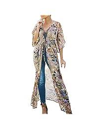 iYYVV Womens Floral Print Chiffon Kimono Long Cardigan Blouse Shawl Loose Cover Up