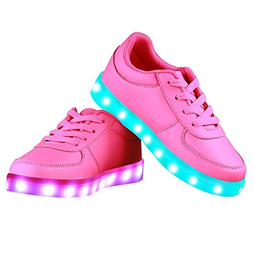Topteck Summer 7 Colors LED Shoes USB Charging Light Colorful Glowing Leisure Flat Shoes for Kid and Adult Pink xojNJ