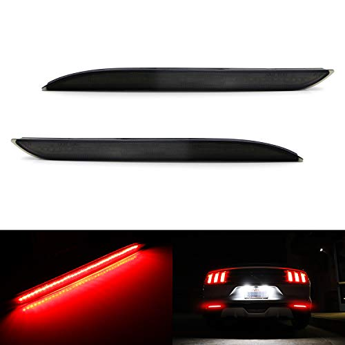 iJDMTOY Smoked Lens 36-SMD Red LED Bumper Reflector Lights For 2015-up Ford Mustang, Function as Tail/Brake or Rear Fog Lamps (Rear Bumper Cobra)