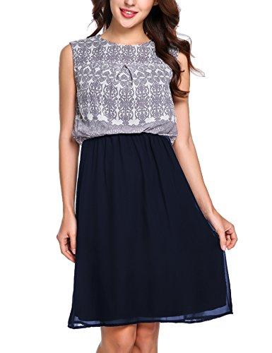 ... Zeagoo Damen Chiffon Kleid Rundhals Knielang Cocktailkleid  Sommerkleider Ärmellos mit modischem Muster Blau Y9wVCpeCe6 ... 1dc1f95956