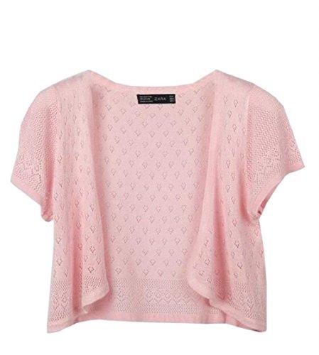 Estivi Cardigan Giubotto Corta Eleganti Giacca Corto Donna Damigella Monocromo Traspirante Accogliente Fashion Pink Moda Outerwear dvFFTO