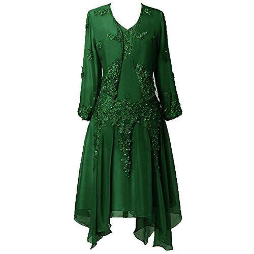 Mutter Braut Frauen Spitze der Chiffon Applique R¨¹schen mit Kleid HWAN Dunkelgr¨¹n Jacke 4Xwf6f