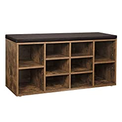 Entryway VASAGLE Cubbie Shoe Cabinet Storage Bench with Cushion, Adjustable Shelves, Holds up to 440lb, Rustic Brown ULHS10BX