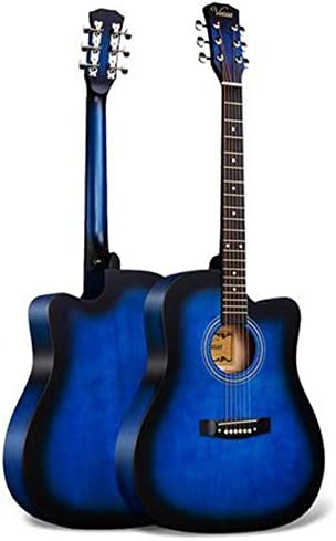 アコースティックギター 初心者ギター練習フォークギターウッドギター初心者入門します 小学生 大人用 ギター初級 (色 : Blue, Size : 41 inches)