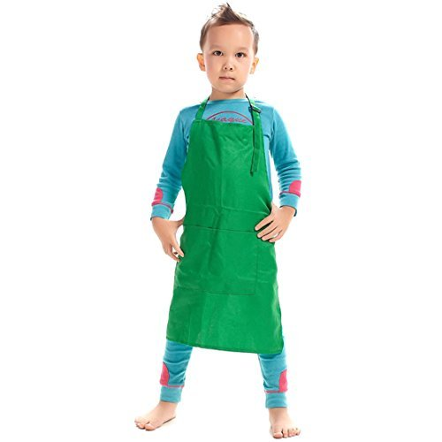 LissomPlume Unisex Kids Art Smock Children Painting Bib Apron Craft Wear Kit with 2 Roomy Pockets for Kitchen Classroom ()