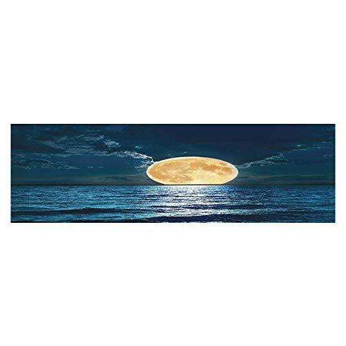 UHOO2018 Aquarium Background Magical Super Mo Over Ocean Surface Midnight Dreamy Mystic Wallpaper Sticker Background Decoration 35.4