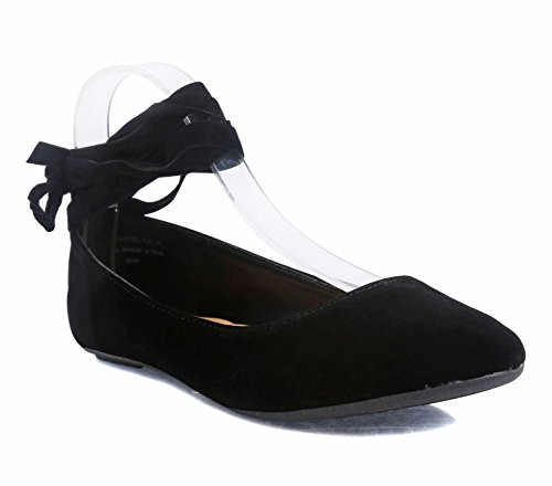 Women Adjustable Ankle Tie Up Laces Ladies Casual Ballet Flats Shoes Without Box Black-ankle Tie 9sYG0g