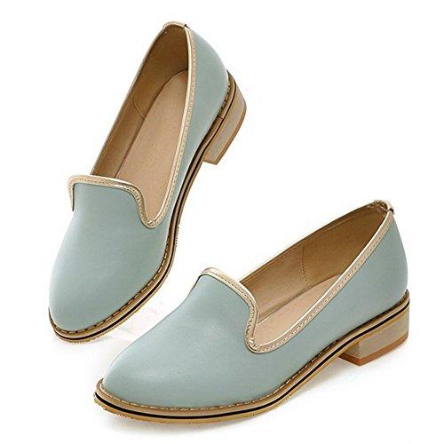 COOLCEPT Mujer Moda Sin Cordones Bombas Zapatos Tacon Ancho Bajo Zapatos Azul