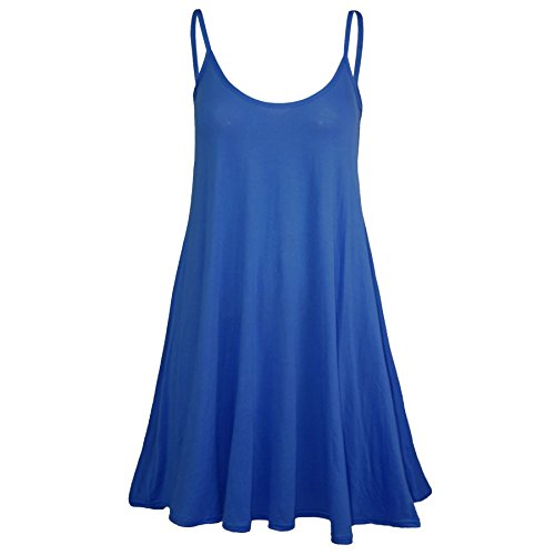 Oops Outlet Women's Sleeveless Plain Strappy Floaty Flared Swing Dress Long Top Plus Size (US 12/14) Navy (Oops Outlet)