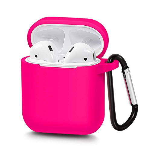 Airpods Case, P&U Protective Thicken Airpods Cover Soft Silicone Chargeable Headphone Case with Anti-Lost Carabiner for Apple Airpods Charging Case (Rose)