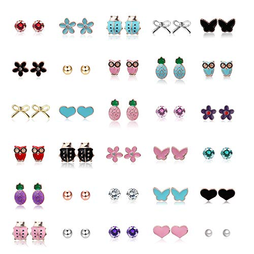 Yadoca 30 Pairs Stainless Steel Mixed Color Earrings for Girls Women Cute Butterfly Bow Knot Pineapple Flower Ladybug Heart Owl CZ Pearl Stud Earrings Set
