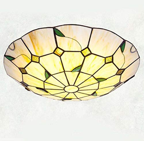 Pastoral Style LED Flush Mount Ceiling Light in Tiffany Style Stained Glass Ceiling Lamps for Bedroom Lighting,LED Chip,12inch/16inch/20inch,warmlight,40cm