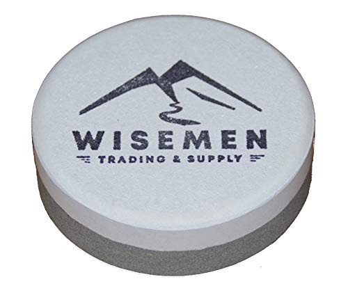 Puck Dual Grit Sharpening Stone - Wisemen Trading Dual Grit Sharpening Puck, Sharpening Axes, Machetes, and Other Tools.