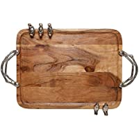 Homes r us Wooden Rectangular Tray With 5 Birds, Brown - 51 x 31 x 2.5 cm