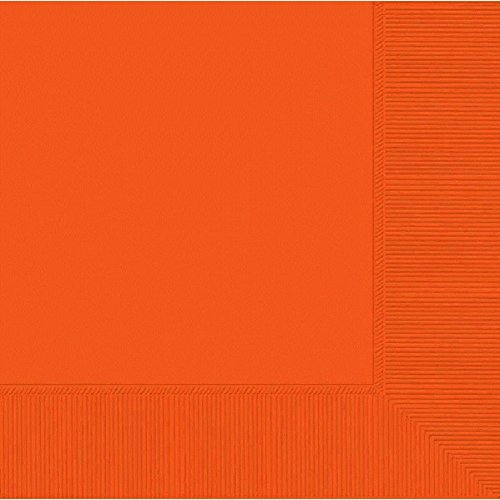 Paper Party Luncheon Napkins - Amscan Disposable 2-Ply Luncheon Party Napkins Tableware, Orange Peel, Paper , 6