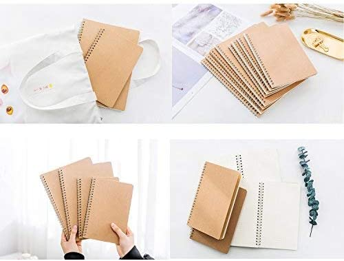 Grid Paper Alloyseed Wirebound Journal Memo Notepads Diary Notebook Planner Acid-Free Cream White Thick Paper 100 Pages Soft Cover Spiral Journal Notebook 50 Sheets Khaki 2-Pack