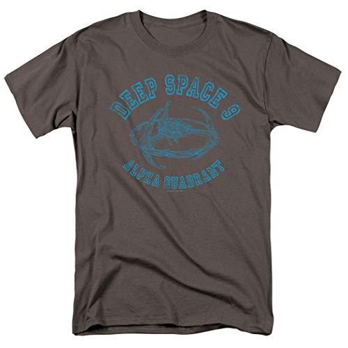 Popfunk Star Trek Deep Space 9 Alpha Distressed Retro T Shirt & Stickers (X-Large) Charcoal