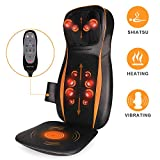 full back massager - Shiatsu Back Massager with Heat, Back and Neck Massager with 12 Rolling Nodes, 3D Kneading & Deep Tissue and Vibration Massage Seat Cushion for Neck Back and Buttocks Fullbody Fatigue Relief