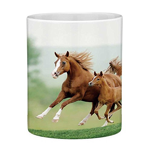 Funny Coffee Mug with Quote Horse Decor 11 Ounces Funny Coffee Mug Running Chestnut Horses Mare and Foal Meadow Scenic Summer Day Outdoors Light Brown - Chestnut Foal