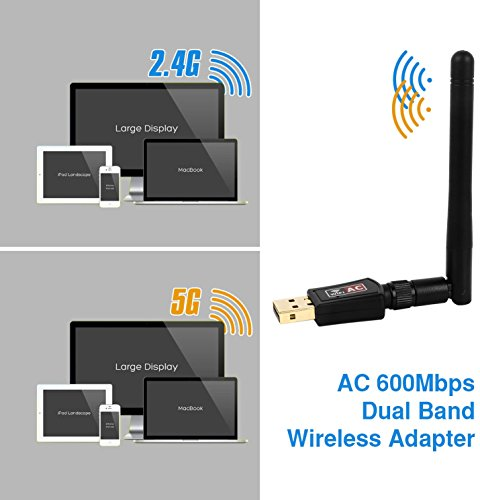 iMounTek 600 Mbps Dual Band (2.4GHz/150Mbps+5GHz/433Mbps) WiFi Adapter Wireless USB Dongle. 802.11G/N/B High Gain Antenna Network Lan Card- Desktop/Laptop/PC Windows 10/8/8.1/7/XP/Vista/MAC OS/LINUX by iMounTek