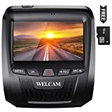 WELCAM Smart Car Dash Camera with Free miniSD Card, 3' 1080 FHD Display, Clear Night Vision with Sony Image Sensor, Loop Recording, Parking Monitoring and Motion Detection, Collision Video Lock, WDR