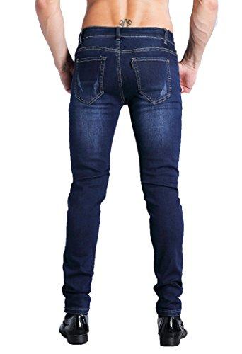 ZLZ Slim Fit Jeans, Men's Younger-Looking Fashionable Colorful Super Comfy Stretch Skinny Fit Denim Jeans (34, Blue)