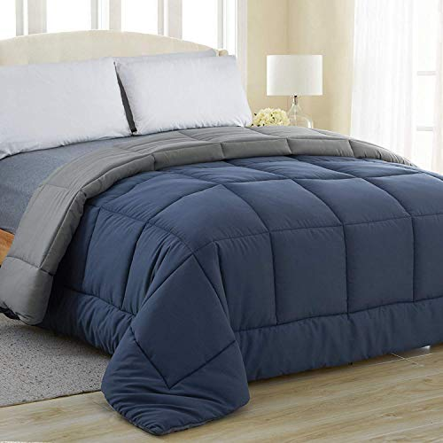 Equinox All-Season Navy Blue/Charcoal Grey Quilted Comforter - Goose Down Alternative - Reversible Duvet Insert Set - Machine Washable - Hypoallergenic - Plush Microfiber Fill (350 GSM) (Queen)