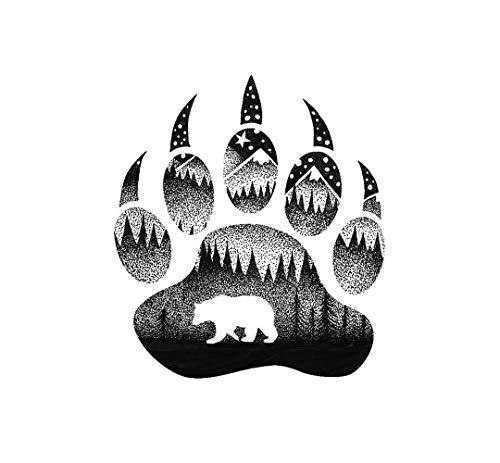 (Sticker Art Bear Paw, Mountain Tough Outdoor Stickers, Waterproof Vinyl (4