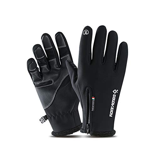 Little World Winter Gloves Cycling Gloves Windproof Waterproof Anti-Slip for Outdoor Cycling Snowboard Hiking Mountain Climbing, Black (L)