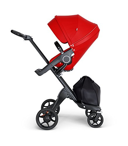(Stokke Xplory V6 Black Chassis Stroller with Black Leatherette Handle, Red)