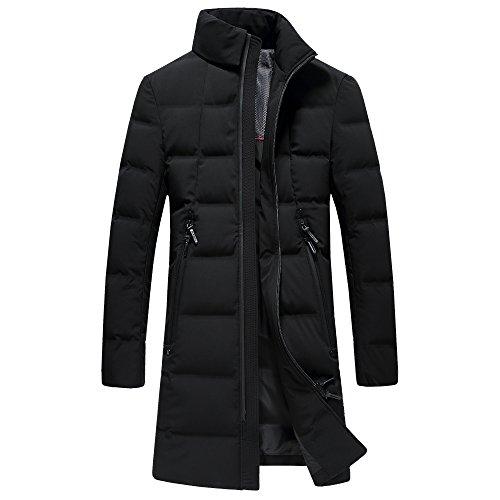 SUNNY SHOP Packable Down Jacket Men Long Winter Sale Thick White Duck Down Coat With Bag Zipper Pocket (Black, - For Sunnies Sale
