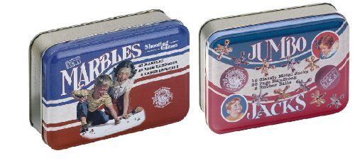 Channel Craft Jumbo Jacks in a Classic Toy Tin and Marbles in a Toy Tin Game Bundle