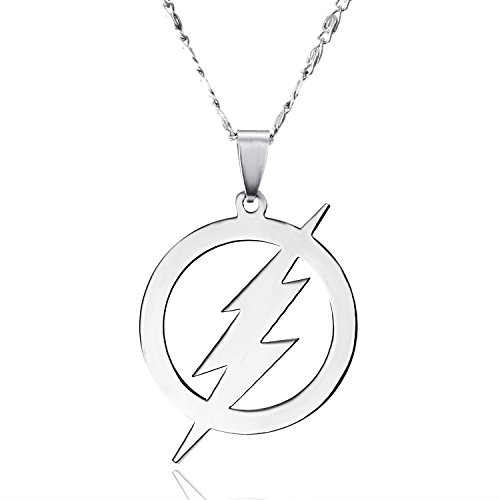 Gmai Stainless Steel Superhero Round Flash Lightning Pendant Flash Fan Jewelry (Style 1) -