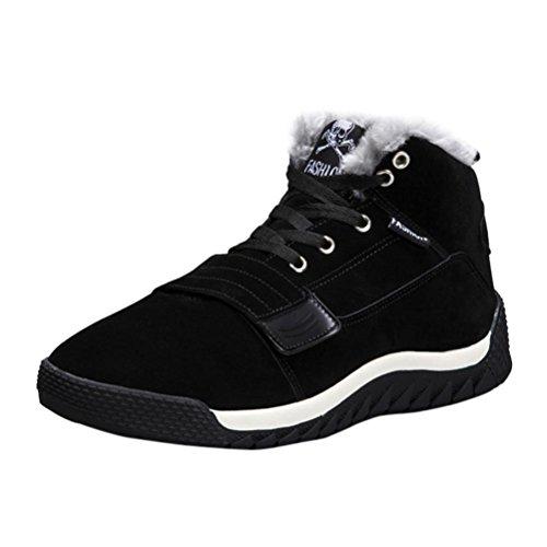 huichang Casual Men Thick Low Ankle Trim Flat Ankle Winter Warm Autumn Boots Sport Shoes Black OJbb6