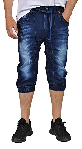 Doce Jeans Mens Denim Elastic Waist Cuffed Bottom Capri