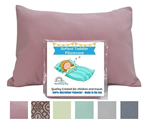 Buy Discount TODDLER PILLOW CASE - PINK. Luxury Microfiber Fabric. Fits 13.5 x 19.5 up to 14 x 20 in...