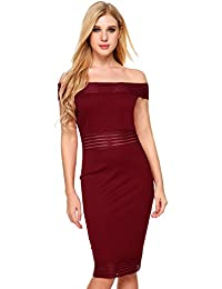 Meaneor Women's Sexy Off Shoulder Bodycon Sheath Evening Dress