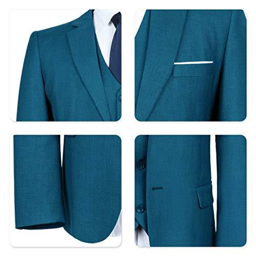 YIMANIE Men's Suit Slim Fit 2 Button 3 Piece Suits Jacket Vest & Trousers Navy