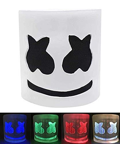 BestCoser Marshmello Helmet DJ Mask LED Neon Party Costume for Halloween Carnival Props Bar, 7 Colors Change 3 Mode Flashing with Rechangable Battery