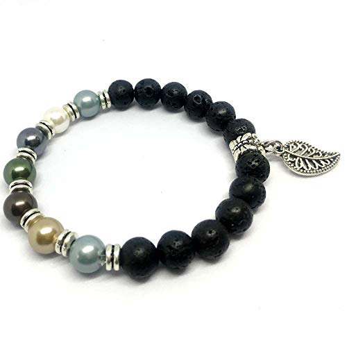 SEY 8mm Lava and Pearl Diffuser Bracelet Essential Oil Natural Beaded with Leaves for Women Girls Gift -