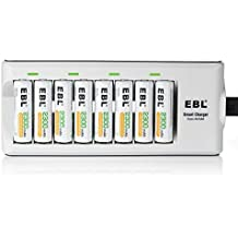 EBL 8 Bay Smart AA AAA Battery Charger and 8 pieces 2300mAh Ni-MH AA Rechargeable Batteries